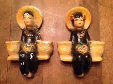 Vintage Chinese Asian Chalkware Plaster Wall Pockets Plaques Man Lady Oriental