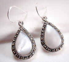 Mother of Pearl Marcasite Earrings 925 Sterling Silver Dangle Corona Sun Jewelry