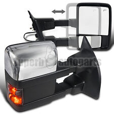 2008-2016 Ford F250 Power Heated Towing Mirrors+Turn Signal Chrome/Black