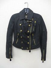 NEW BURBERRY BRIT Women Black Leather Jacket Size 04 US MSRP $1995.00