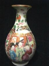 Chinese Miniature Tubular Vase Enamelled Birds & Flower Design Famille Rose