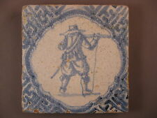 Antique Dutch Delft soldier Tile accolade framing rare 17th -free shipping Nr.5
