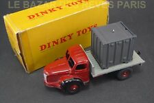 DINKY TOYS FRANCE. BERLIET plateau avec container. + Boite. REF: 34 B.