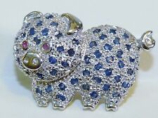 GENUINE! 0.85cts African Sapphire & Ruby Pig Brooch Solid Sterling Silver 925.