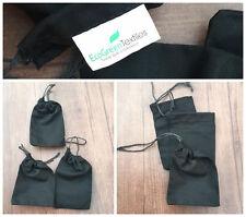 50 (4x6) Original Black Cotton Drawstring Bags Bath Soap Herbs~PREMIUM QUALITY ~