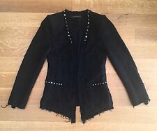 ZARA BLACK FANTASY Studded Tweed Boucle BLAZER JACKET COAT SZ S