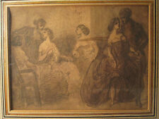 ANTIQUE 19th CENTURY CONSTANTIN GUYS FRENCH INK WASH PAINTING BROTHEL SCENE RARE