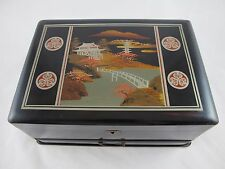 Vintage Lacquer Wood Asian Jewelry Box Drawer Key