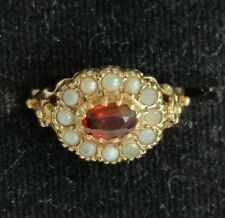 9 Carat Gold Ladies Victorian Style Garnet & Pearl Cluster Ring size N,Ldn 1981