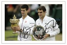 ROGER FEDERER & NOVAK DJOKOVIC 2015 WIMBLEDON FINAL SIGNED AUTOGRAPH PRINT PHOTO