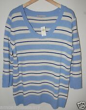 NWT Gap Womens Pullover Blue White Striped Knit Sweater Top V Neck L $49 NEW