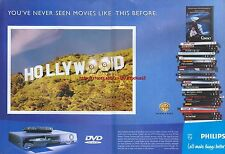 """Philips DVD Player """"Hollywood"""" 1999 Magazine Double Page Advert #4961"""