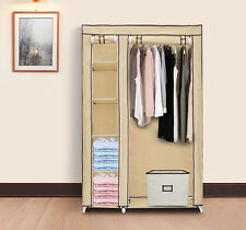 "69"" Tan Portable Clothes Organizer Closet w/ Shelves - Clothing Storage War"