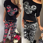 Womens Camouflage Mickey Print Tracksuit Set T-Shirt Long Pants Athletic Clothes