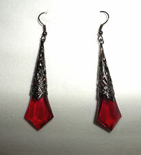 LONG RICH RED FACETED ACRYLIC DROP BLACK PLATED DECO FILIGREE EARRINGS BSM