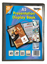 A5 Presentation Folder 20 Pocket Display Book Black Tiger New