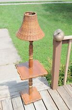 Vintage Solid Oak Country Style Floor Lamp With Table NICE!