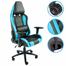 RACING STYLE GAMING HOME OFFICE RECLINING COMPUTER PC DESK HEAD ARM REST CHAIR