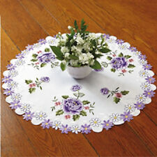 "Round Purple Roses Table Topper Doily  24"" Diameter Embroidery NEW MACH WASH"