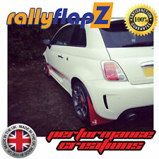 rallyflapZ FIAT 500 ABARTH (2008+) Red 4mm PVC Mud Flaps Scorpion Logo White