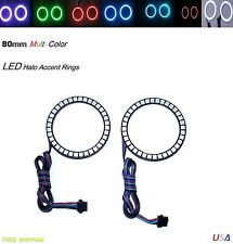 Add On RGB LED 80mm Headlight 5050 SMD Multi-Color Angel Eye Halo Ring Light Kit