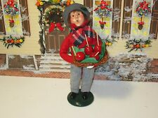 Byers Choice 2001 Traditional Boy with Basket Tray of Candy Apples