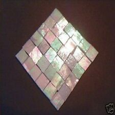 100 WHITE IRIDESCENT MOSAIC TILE STAINED GLASS TILE CRAFT SUPPLIES MADE USA