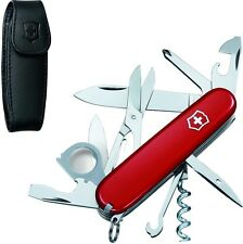 Victorinox Swiss Army Red Explorer With Black Leather Pouch Clip 53823 **NEW**