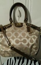AUTHENTIC COACH MADISON KHAKI OP ART SIGNATYRE LUREX LINDSEY TOTE #18635  EUC