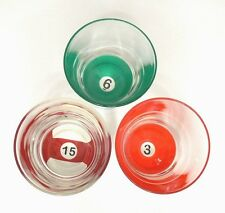Luminarc France Set Of 3 Billiard Pool Ball GLASSES Old Fashioned Size 10.5oz