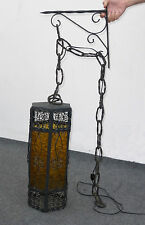 Vintage Wrought Iron SPANISH STYLE Hanging Swag LIGHT LAMP Chandelier