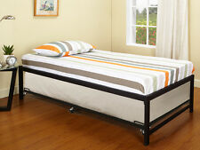 Black Metal Twin Size Day Bed (Daybed) Frame With Roll Out Trundle ~New~