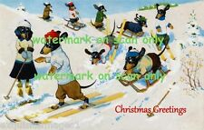Vintge Christmas Dressed Dachshund Dogs Skiing & Sledding~Snow~NEW Lg Note Cards
