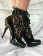 New Burlesque Lolita Cute Black Ruffle Lace Frill Ankle Socks By Leg Avenue