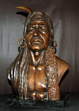 Native American Indian Bronze Bust Souix Chief Warrior