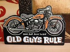 BUILT TO LAST OG RULES V TWIN ENGINE MOTORCYCLE EMBOSSED METAL SIGN WALL DISPLAY