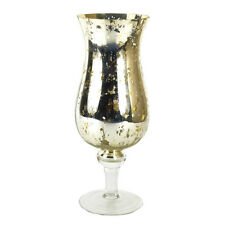 SILVER GREY MERCURY GLASS GOBLET HURRICANE VASE VOTIVE PILLAR CANDLE HOLDER