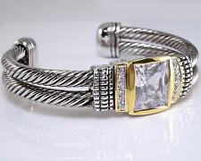 Designer Inspired Balinese Clear Princess CZ Crystal Silver Gold Cuff Bracelet