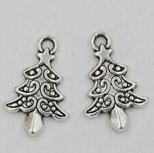 8pcs  Antique Silver Alloy Christmas Tree Charm Pendant 14x21.5mm DIY Jewelry