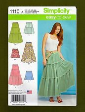 NEW! Simplicity Pattern 1110~EASY-TO-SEW Tiered Hippy Skirt (Sizes XXS-XXL)