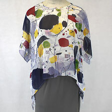 NEW NWT Cocoon House Pizzazz Art Sheer 100% Silk Pointed Blouse Top Large / XL