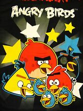 "ANGRY BIRDS Knotted Tied FLEECE BLANKET THROW Cover 52"" x 40"" - Black & Red"