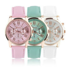 Fancy stainless steel leather strap roman analog wrist watch for woman