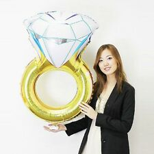 32'' Diamond Ring Foil Balloon Engagement Wedding Gold Love Hen Party Helium