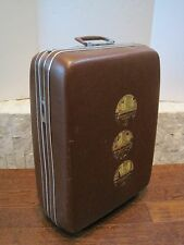 Vintage Sunrise Brown Faux Leather Hard Shell Rolling Suitcase Case Luggage Bag