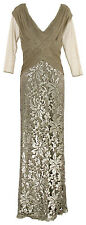 Tadashi Shoji Ruched Tulle Bodice Lace 3/4 Sleeve Sequin Gown Sand 12 $458