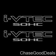 Two (2) Silver HONDA I-VTEC SOHC Car Wall Vinyl Sticker Decal Window