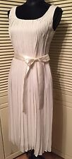 Burberry Brit Ivory Silk Linen Pleated Cece Dress 6 NWT $795 Belt Not Included