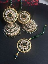 Indian weddings earrings jewellery.bollywood Jhumka Tika Gold Green Beads