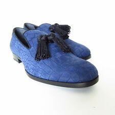S-531272 New Jimmy Choo 151Foxley Croc Embossed Blue Shoe Sz US 9.5/marked 42.5